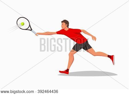 A Tennis Player Holds A Tennis Racket In Both Hands And Runs To Hit The Tennis Ball. A Young Athlete