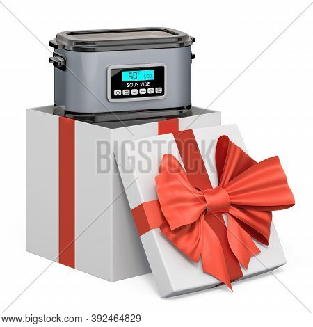 Sous Vide Machine Inside Gift Box, Present Concept. 3d Rendering Isolated On White Background
