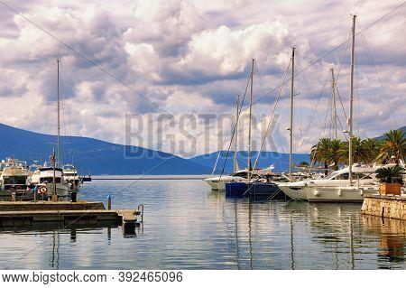 Yacht Marina. Montenegro, Tivat City. View Of Marina Of Porto Montenegro On Autumn Day