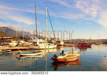 Sunny Autumn Mediterranean Landscape. Montenegro, Adriatic Sea. View Of Bay Of Kotor Near Tivat  Cit
