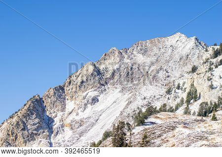 Photo Of Mountains Covered With First Fresh Snow.