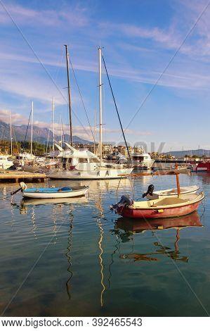Beautiful Mediterranean Landscape On Sunny Autumn Day. Montenegro, Adriatic Sea. View Of Bay Of Koto