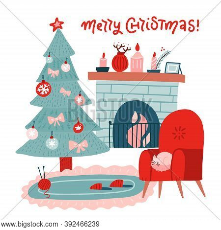 Christmas Fireplace Room Interior In Colorful Scandinavian Flat Style. Christmas Tree, Decoration, R