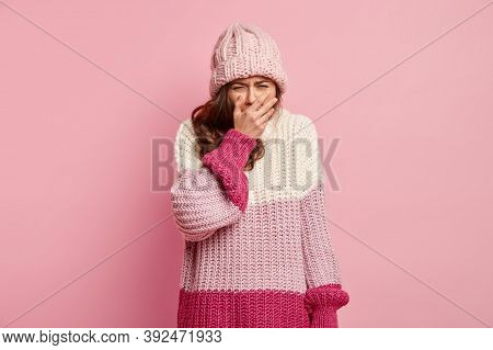 Negative Human Feelings, Emotions Concept. Dejected Upset Woman Keeps Palm On Mouth, Feels Upset, Cr