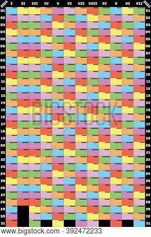 2021 Planer Calendar Vertical Format Specific Color For Each Weekday Designer Cut