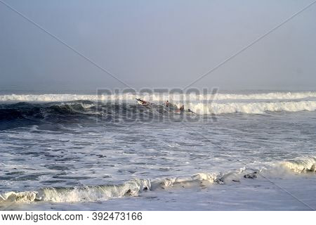 Yogyakarta, Indonesia - September 20, 2017: A Fishing Boat Sank While Trying To Pass The Waves On Th