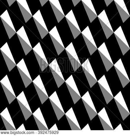 Repeated Ornamented Slanted Strokes On Black Background. Seamless Surface Pattern Design With Polygo