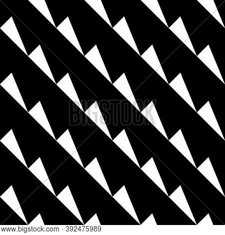 Repeated White Slanted Triangles On Black Background. Seamless Surface Pattern Design With Polygons.