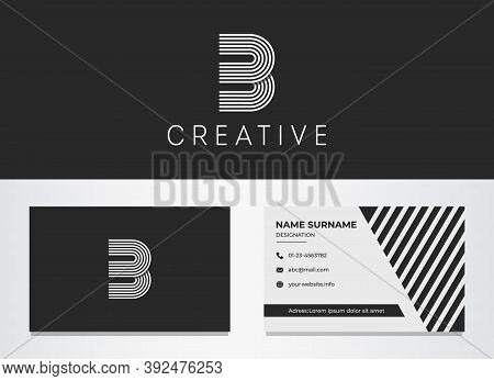 Mock Up Logo B And Business Card. Thin Lines, Rounded Corners, Dynamic, Minimal, Trendy Logotype For