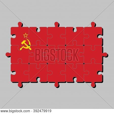 Jigsaw Puzzle Of Soviet Union Flag, A Plain Red Flag With A Golden Hammer And Sickle And A Gold-bord