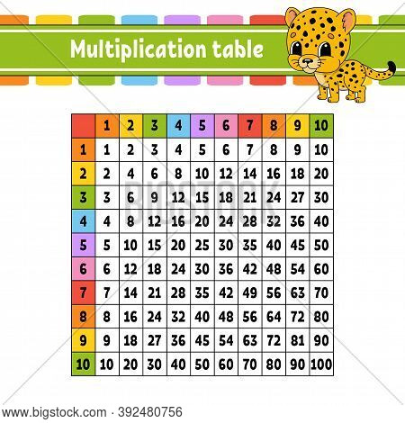 Color Square Multiplication Table From 1 To 100. For The Education Of Children. Isolated On A White