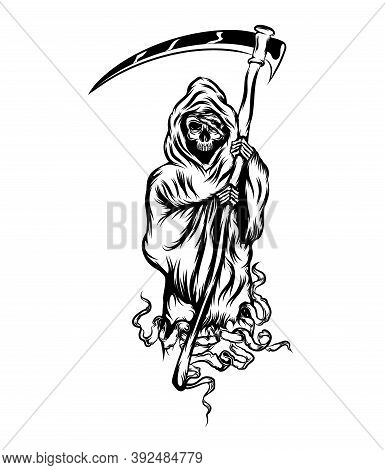 The Grim Reaper Standing And Holding The Scythe