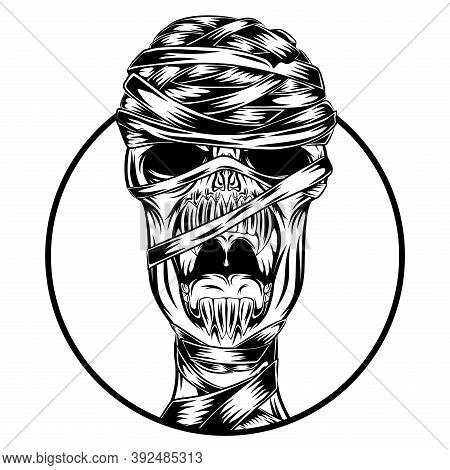 The Mummy Only The Skull Head Out Of The Round Hole