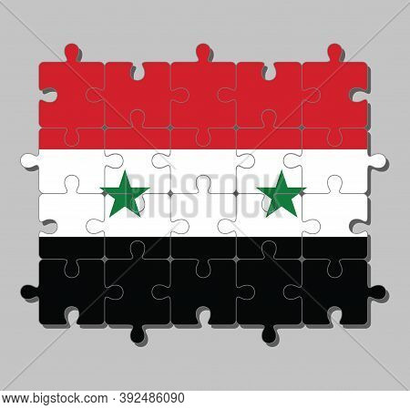 Jigsaw Puzzle Of Syrian Arab Republic Flag In A Horizontal Tricolor Of Red White And Black With Two