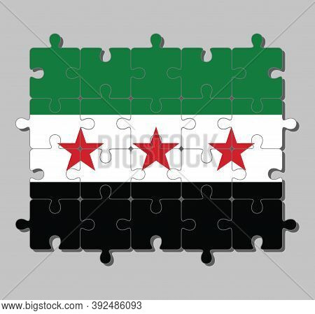 Jigsaw Puzzle Of Syrian Interim Government Flag In A Horizontal Tricolor Of Green White And Black Wi