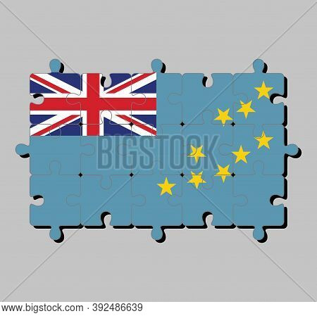 Jigsaw Puzzle Of Tuvalu Flag In A Light Blue Ensign With The Map Of The Island Of Nine Yellow Stars.