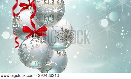 Beautiful Festive Background With Two Christmas Balls On A Backdrop With Shining Blur Effect