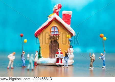 Miniature People, Happy Family Celebrating A Christmas