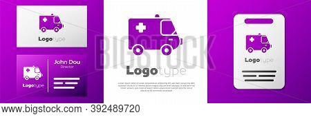 Logotype Ambulance And Emergency Car Icon Isolated On White Background. Ambulance Vehicle Medical Ev