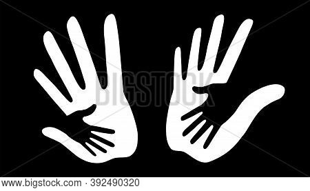 White Caring Hand Logo Set. Vector Illustration. Helping Hand Insignia.