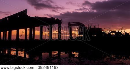 Dawn Demolition Of Whirokino Trestle Bridge Near Foxton New Zealand.