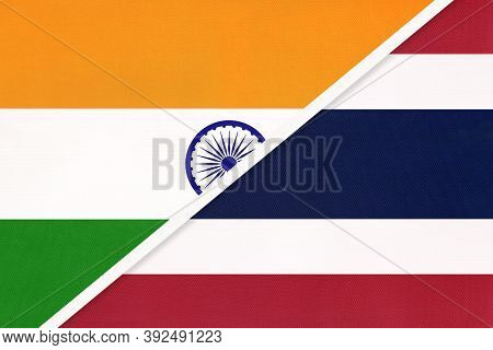 India And Thailand Or Siam, Symbol Of National Flags From Textile. Relationship, Partnership And Cha