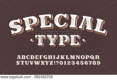 Special Type Alphabet Font. Vintage Letters And Numbers. Scratched Background. Vector Typescript For
