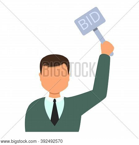 Auction Bid Person Icon. Cartoon Of Auction Bid Person Vector Icon For Web Design Isolated On White