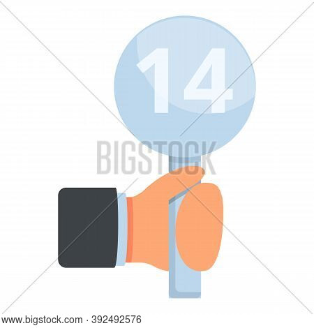 Auction Hand Number Icon. Cartoon Of Auction Hand Number Vector Icon For Web Design Isolated On Whit