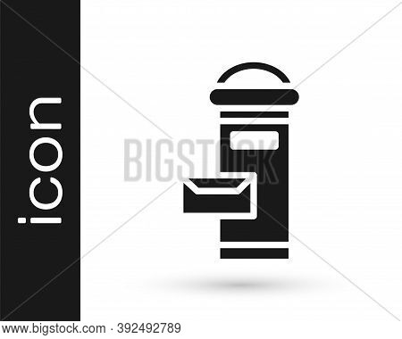 Black Traditional London Mail Box Icon Isolated On White Background. England Mailbox Icon. Mail Post