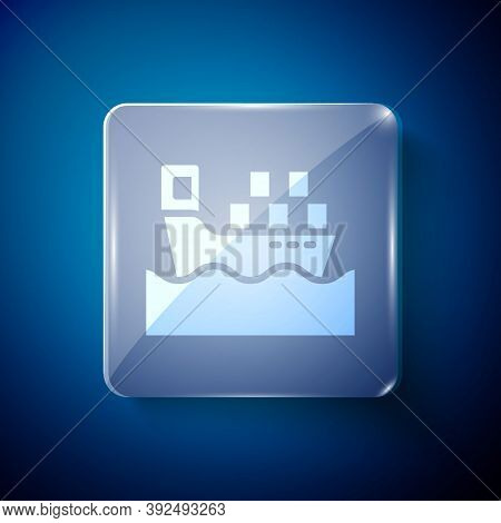 White Cargo Ship With Boxes Delivery Service Icon Isolated On Blue Background. Delivery, Transportat