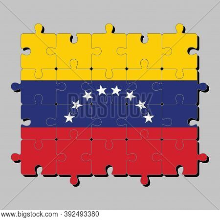 Jigsaw Puzzle Of Venezuela Flag In Yellow Blue And Red With An Arc Of Eight White Stars Centered On