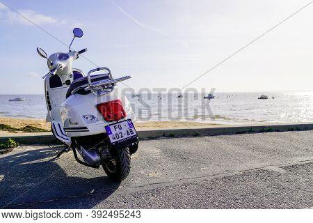 Arcachon , Aquitaine / France - 10 01 2020 : Vespa Motorbike Italian Brand Of Scooter Manufactured B