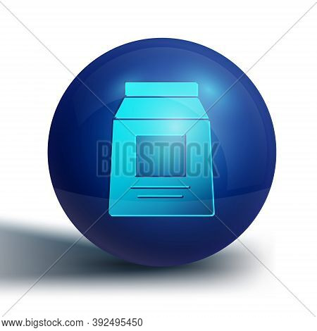 Blue Sports Nutrition Bodybuilding Proteine Power Drink And Food Icon Isolated On White Background.