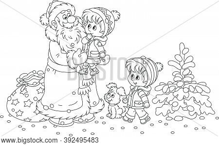 Santa Claus Brought His Bag Of Christmas Gifts For Small Children Playing In A Snowy Winter Park, Th