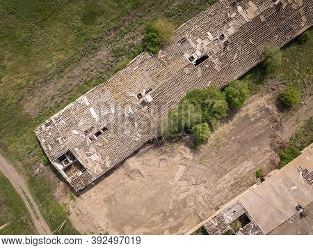 Abandoned Farm From The Air. Aerial View Of The Abandoned Farm.