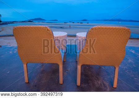 Ranong, Thailand - September 20, 2020 : The Blue Sky View With Beach Chair At Koh Phayam Island, Ran