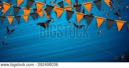 Black Paper Bats, Black And Orange Flags Garland And Serpentine. Blue Brushstrokes Background Lookin