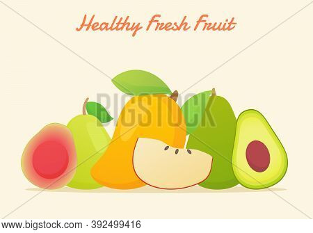 Healthy Fresh Fruit Set Collection Guava Mango Apple Avocado Pear Fresh Juicy Vitamin Nutrition Fibe