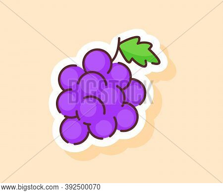 Grape Sticker Fruity Healthy Fresh Food With Color Flat Cartoon Outline Style