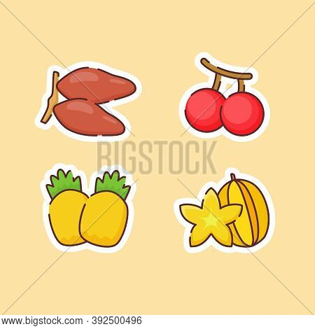 Fruit Icons Set Collection Date Palm Cherry Pineapple Starfruit Natural Healthy Fresh Food With Colo