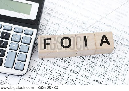 Word Foia. Wooden Cubes With Letters On The Table Next To A Calculator And Financial Statements. Bus