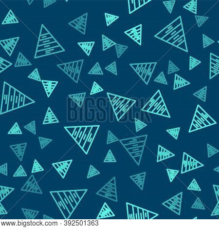 Green Line Business Pyramid Chart Infographics Icon Isolated Seamless Pattern On Blue Background. Py