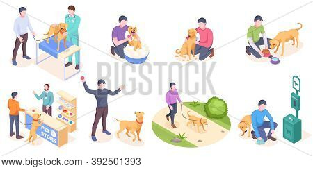 Pet Dog Care, Daily Owner Life, Isolated Isometric Icons. Dog Pet And Owner Daily Activity, Veterina