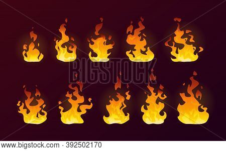 Fire Flames Burning Icons, Isolated Cartoon Flat Set On Background. Realistic Dire Flames Of Campfir