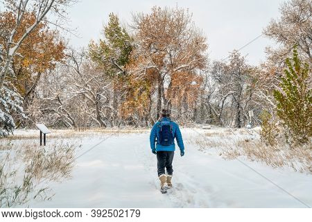 senior male is hiking on bike trail in Fort Collins, Colorado - fall scenery with a fresh snow