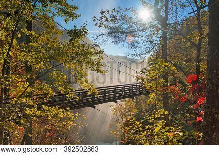 Tallulah Falls, Georgia, USA overlooking Tallulah Gorge in the autumn season.