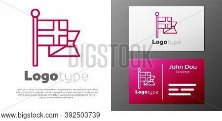 Logotype Line Flag Of England On Flagpole Icon Isolated On White Background. Logo Design Template El