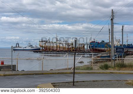 Ships In A Shipyard In The Port Of Punta Delgada, Chile