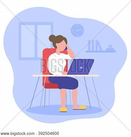 Young Woman Sitting At Desk With Laptop And Answers Phone Business Call. Freelance, Remote Work At H